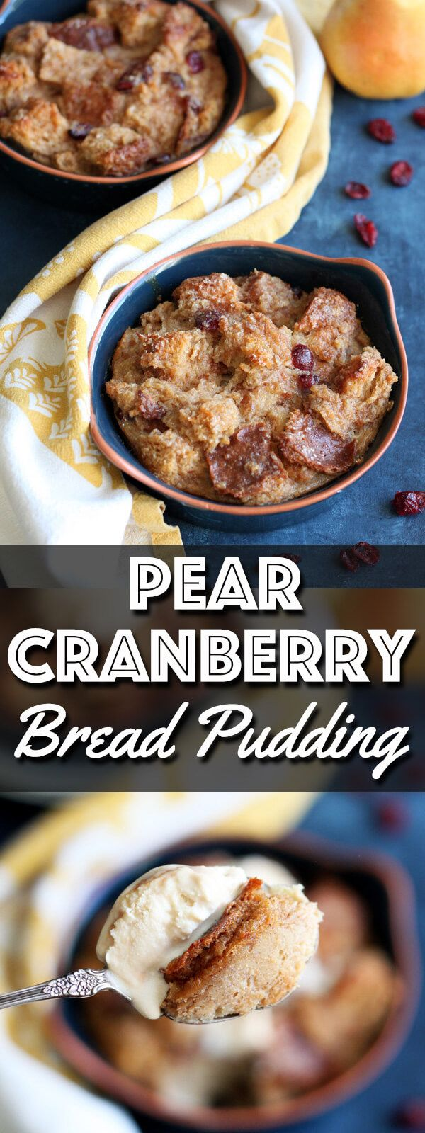 This Pear Cranberry Bread Pudding is a simple yet decadent dessert, baked up nicely in individual ramekins for easy sharing.  | wildwildwhisk.com