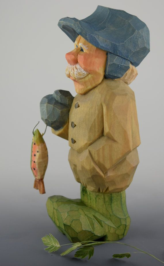 Wood carving Nordic Gnome Elf Fisherman caricature by cjsolberg