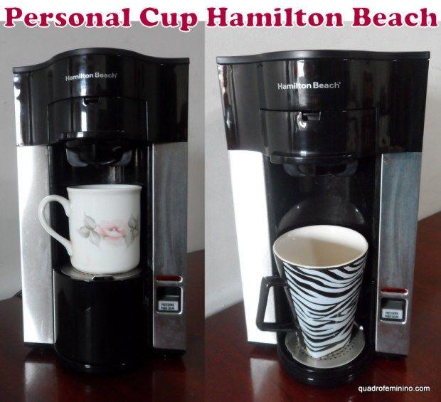 Personal Cup Hamilton Beach - Cafeteira Pessoal - passa o café em dose individual, do tamanho que desejar, do cafezinho ao canecão, capacidade máxima de 400 ml. Pode ser em pó ou também usar sachês.