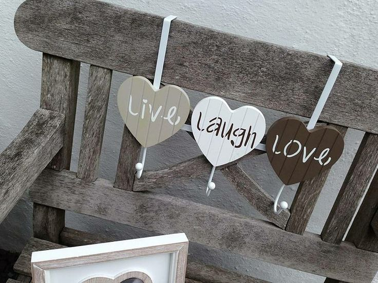 'live, laugh, love' heart triple hook by the hiding place | notonthehighstreet.com