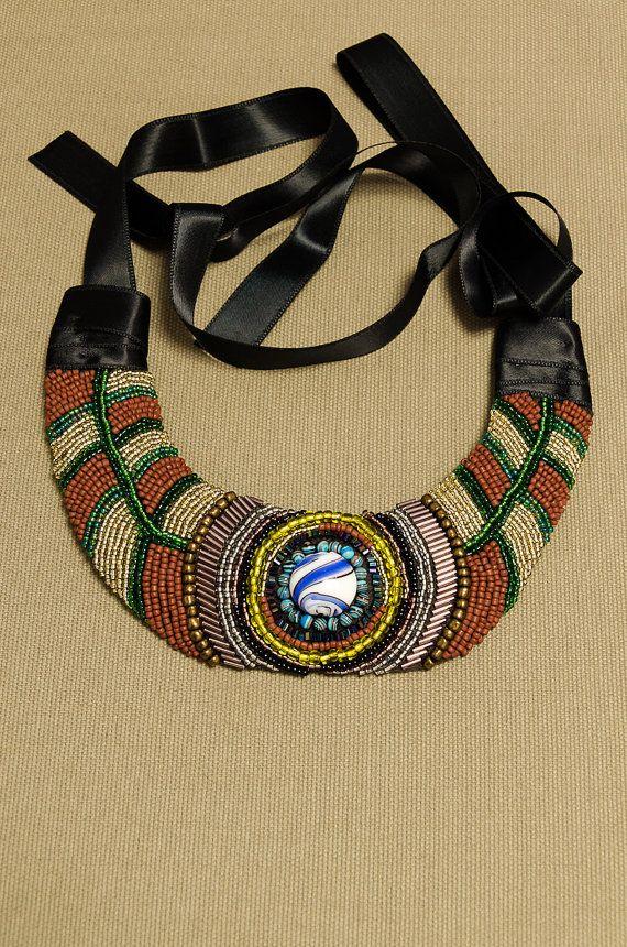 Egyptian bead embroidery necklace ethnic by HandmadebyIru on Etsy, €45.00