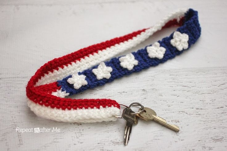 Crochet Stars and Stripes Lanyard. With Flag Day and the Fourth of July approaching, this is the perfect free pattern.