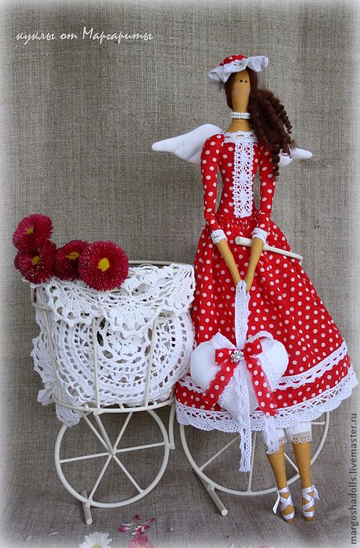 """Купить Ангел страсти и любви""""Долли"""" - ярко-красный, горошек, кукла ручной работы, кукла в подарок"""