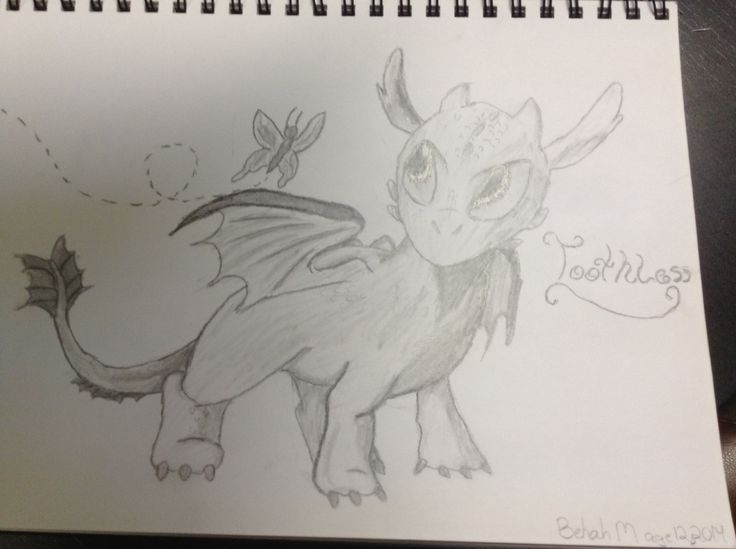 Baby toothless from how to train your Dragon by bekah m age 12
