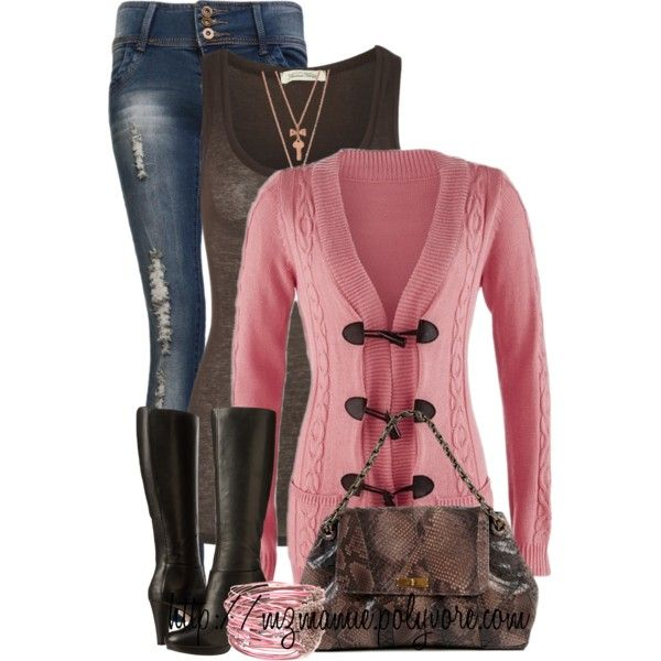 Winter Outfits - cardigans, tank tops, jeans, boots, bracelets, necklaces, bags