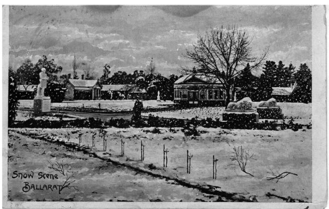 This postcard of a snow scene in Ballarat in 1905, was sent by my grandmother to her father in Broken Hill.