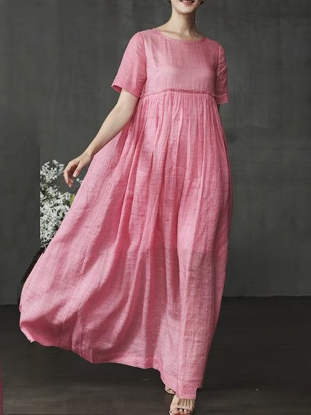 Women Shift Casual Short Sleeve Midi Dresses