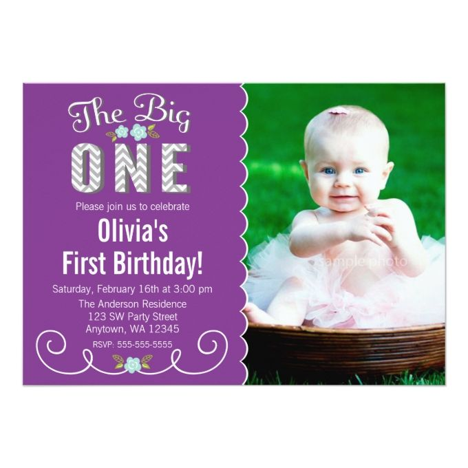 Best Girl Birthday Invitations Images On Pinterest - 1st birthday invitations girl purple
