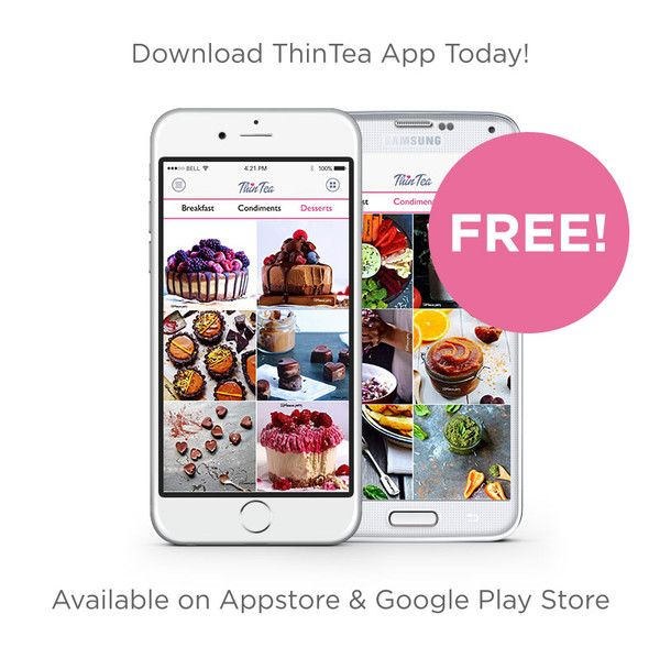 """Our FREE iPhone/Android App is now available to download!! Support your detox journey with 58 #CleanEating Recipes today! Simply search in the App Store: """"ThinTea"""""""