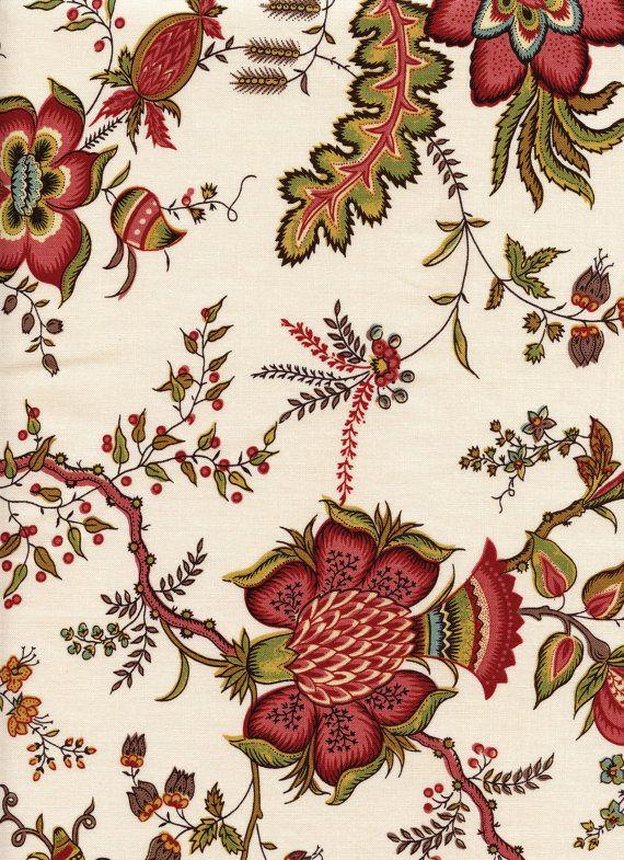 Tissu indienne motif 8 sur fond écru coupon 55 cm x 50 cm