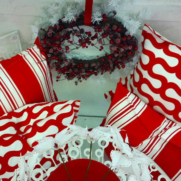 "New Geometric Print called ""Shirley"" and co-ordinating stripes in a postbox red as part of a Christmas decor display..."
