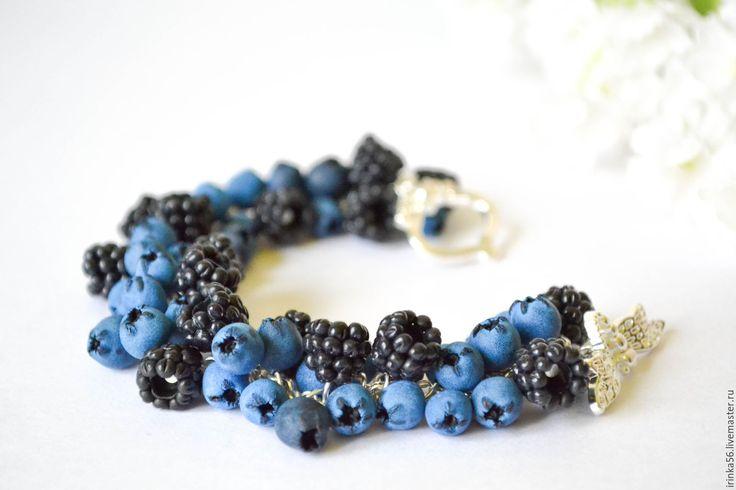 """Купить Браслет """"Ежевика и Черника"""" - голубой, черный, ежевика, голубика, черника, браслет, браслет ягоды"""