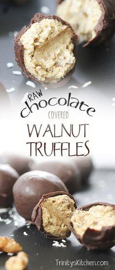 Raw chocolate covered walnut truffle recipe. High in omega 3 essential fats. Sugar-free, gluten-free, dairy-free