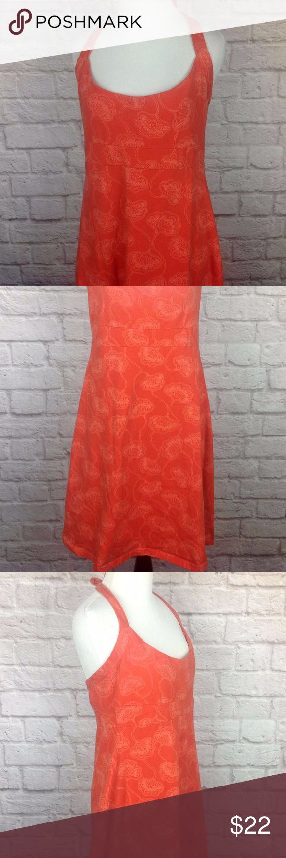 Patagonia Dress Large Athletic Travel Sport Bra Great Condition; Patagonia Dress Large Athletic Travel Build in Sport Bra Organic Cotton Floral Orange; Stretchy 95/5 Organic Cotton/Spandex; Tie Back Neck; Length measured from armpit to bottom hem is 28.5 inches; 16.5 inch across bust Patagonia Dresses Midi