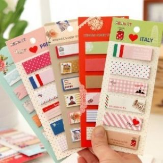 Fresh Cute Portable Paper Notes Pad Sticky Note Color Random
