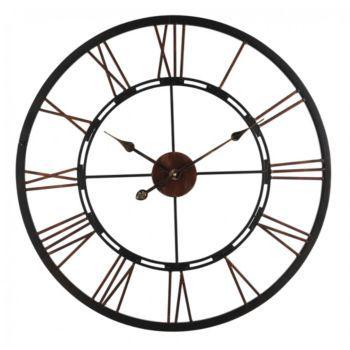 Horloge en fer diam 70 5 cm noir furniture for Horloge en fer forge noir