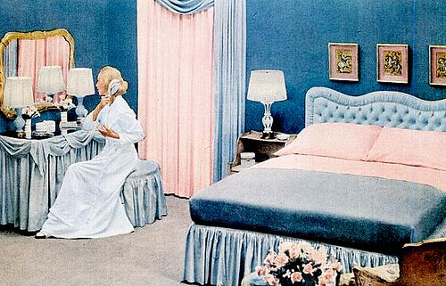 Lavish bedroom with upholstered headboard and ladies' vanity - light blue - probably not as pale as I want though