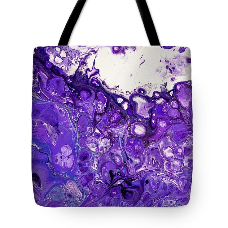 Sacred Purple Flows 8. Abstract Fluid Acrylic Pour Tote Bag by Jenny Rainbow.  The tote bag is machine washable, available in three different sizes, and includes a black strap for easy carrying on your shoulder.  All totes are available for worldwide shipping and include a money-back guarantee.
