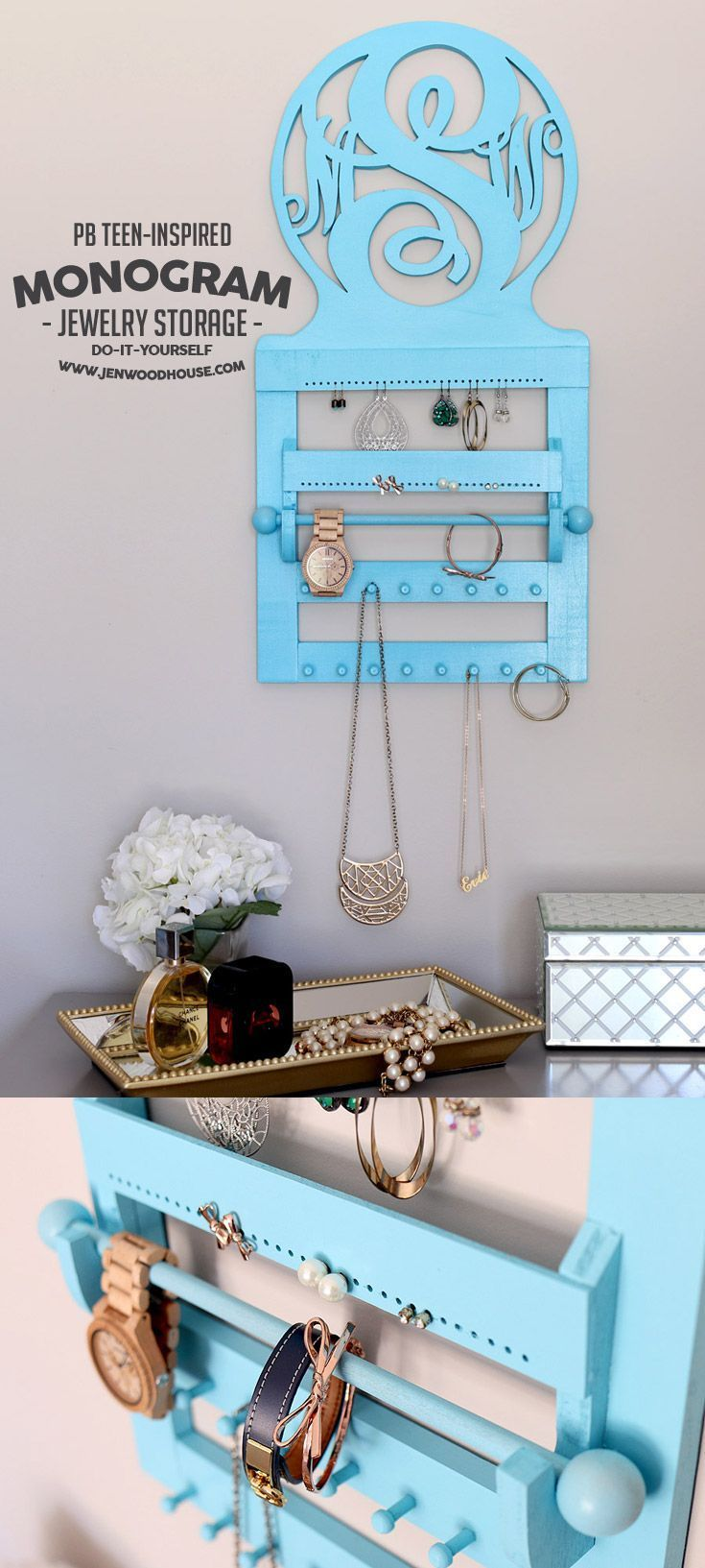 How to build a DIY Pottery Barn Teen-inspired Monogram Jewelry Storage via Jen Woodhouse