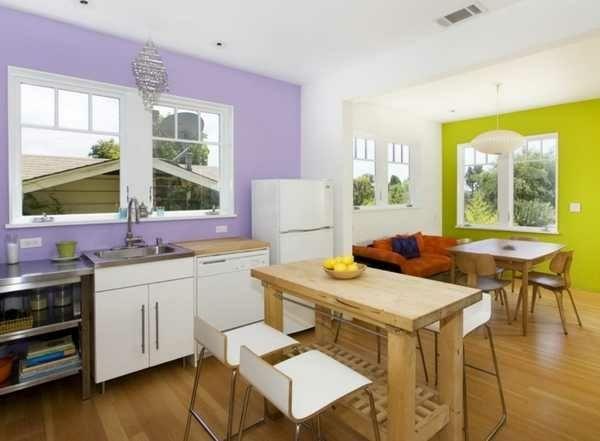 cusine accent sur les murs vert violet