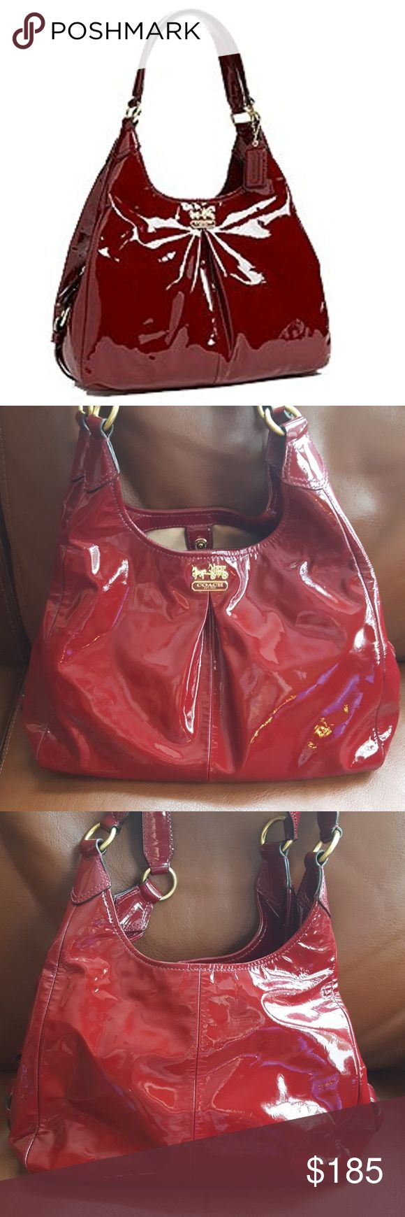 JUST IN🔶️ Coach Madison Maggie Patent Hobo Gorgeous crimson shiny patent coach hobo bag. EUC. 12in x 11in x 3.5in.  10in strap drop.  Gold sateen lining.   Interior is very clean.  No marks or wear to edges or corners. Very gently used. Coach Bags