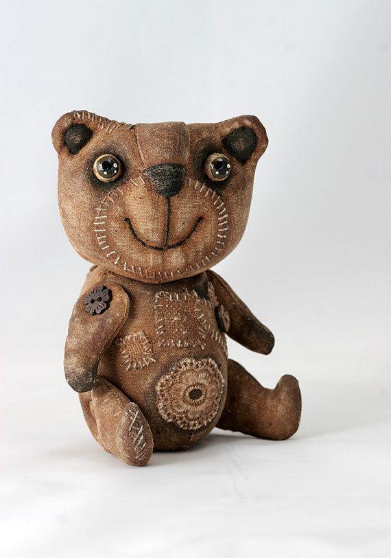 Примитивный Мишка Народное искусство куклы примитивная Кукла медведя маленький коллекционный Мишка ароматный необычный подарок.