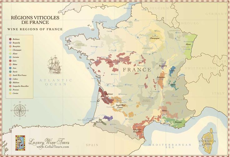 French Wine Regions Map Courtesy of www.cellartours.com
