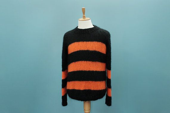 Black and Orange Striped Mohair Sweater Jumper / Men's Large ...