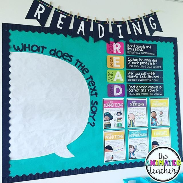 Reading bulletin board remodel! I'm going to use the text speech bubble several…
