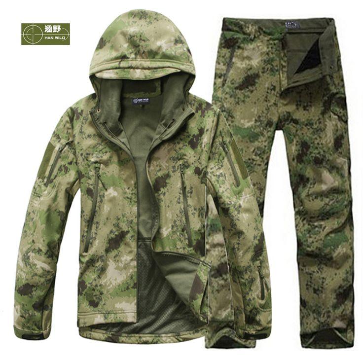 HANWILD Man Fishing Waterproof Hunting Tactical SoftShell Outdoor Jacket SharkSkin Military Camouflage Jackets Set Sport Army S6 free shipping worldwide