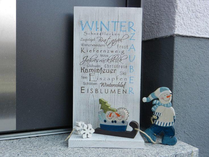 holzschild mit ablage winter shabby chic von pfeifer 39 s holzwerkstatt auf holz. Black Bedroom Furniture Sets. Home Design Ideas