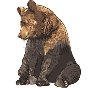 cartoon bear: funny cartoon bear sitting and smiling Illustration