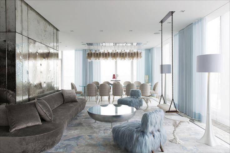 Фото интерьера гостиной квартиры в современном стиле