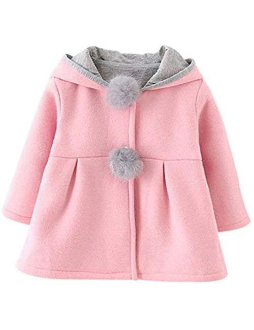 7399a4e41014e Enfant Bébé Fille Oreilles de Lapin Capuchon Doux Chaud en Coton Veste d  Hiver Épais