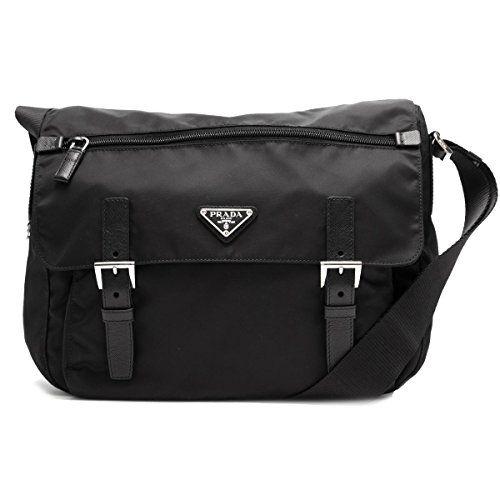 749f0e8faf6ff SALE PRICE -  950 - Prada Women s Black Nylon Fabric Crossbody Messenger Bag  1BD671