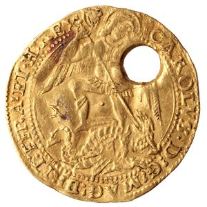"A coin for curing the ""King's Evil""; the gold angel of Charles I, London (Tower mint), 1625-1649 The gold 'angel' was introduced in 1465 by Edward IV, and was called an angel because it shows the Archangel Michael on the obverse. On the reverse is a..."