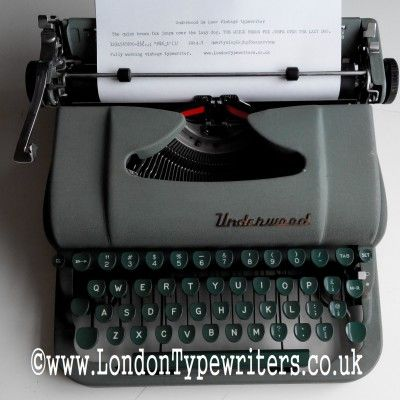 1950's Green Underwood DeLuxe. For sale at www.londontypewriters.co.uk #vintage #typewriter #retro #1950s #typewriters #vintagedecor #vintageshop #imperial #manual #nofilter #london #uk #vintagesale #retroshop #green
