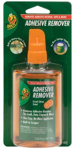 Duck Brand 527263 Adhesive Remover 5-4/9-Ounce Bottle with Scraper Cap by Duck. $7.76. From the Manufacturer      Duck brand adhesive remover easily removes tapes, adhesive residue, stickers, labels, tar, gum, caulk and more. This multi-purpose adhesive remover is perfect for both home and office use. It is safe for all types of surfaces, including walls, floors, doors, furniture, cars, metal, plastic, glass and wood. Each 5.45-Ounce bottle has a sponge applicator for easy and p...