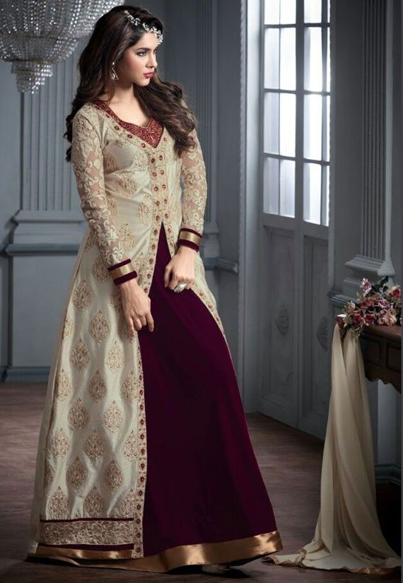 Elegant Off White and Burgundy Suit