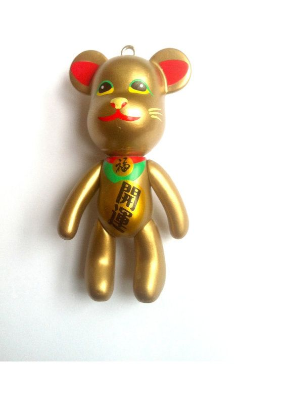 Golden Chinese Lucky Cat Teddy Bear Charm 1pc by KajaSupplies