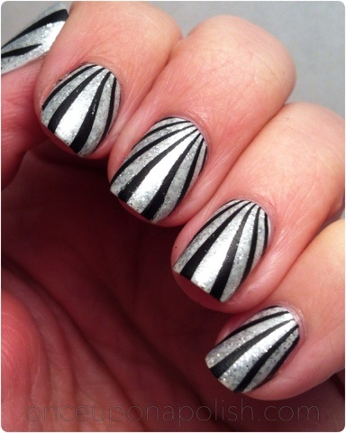 circus tent style nails - black & silver sparkles