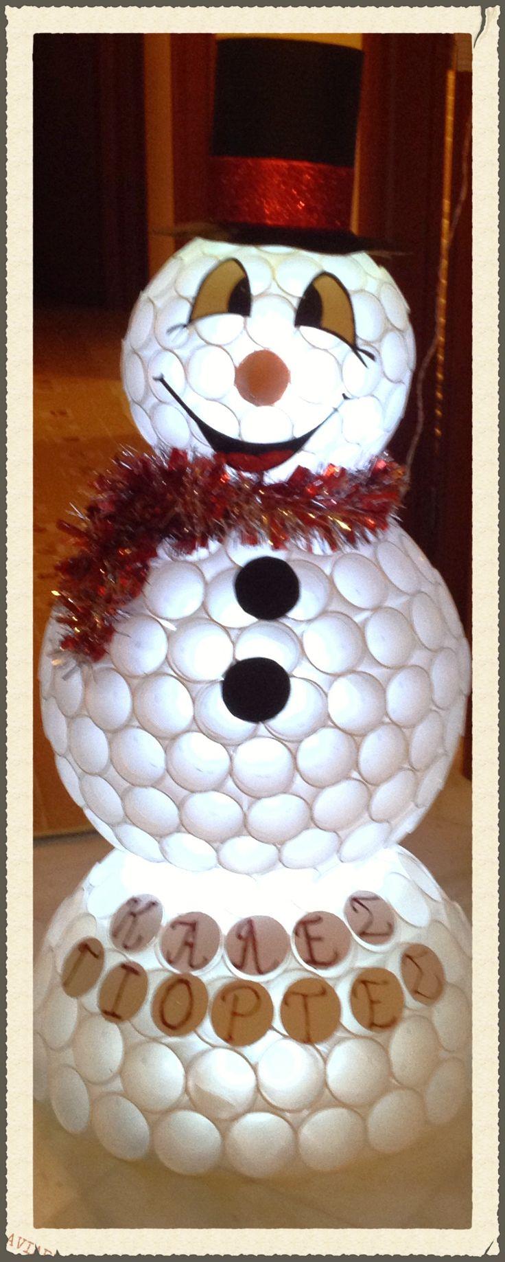 Χιονάνθρωπος με ποτηράκια πλαστικά.