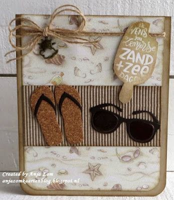 card sea seaside flipflops flip flop spectacles sun glasses shades beach summer sand starfish Anja Zom kaartenblog