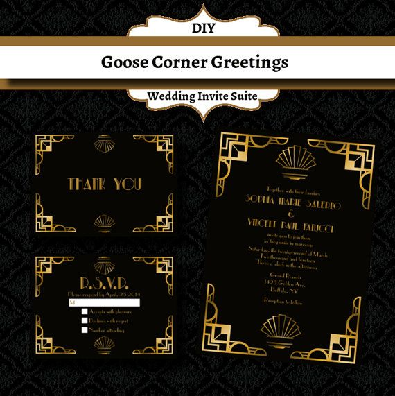 25% OFF Ary Deco Wedding Invitation Suite-Great Gatspy- Elegant-Formal- Wedding invitations-Gold and Black-1920s