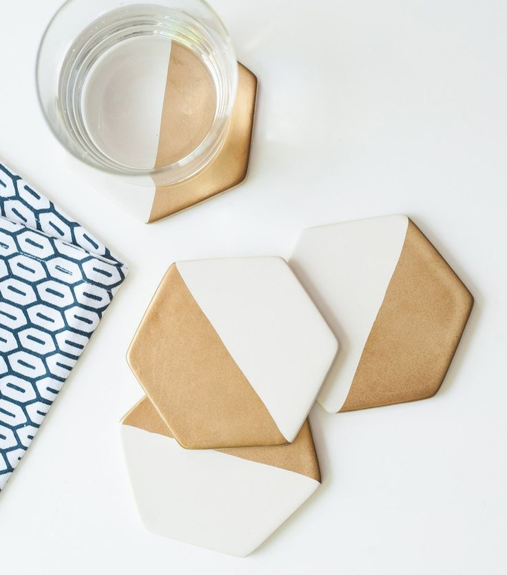 white and gold hexagonal ceramic coasters will give a modern chic vibe to the home @nordstrom #nordstrom