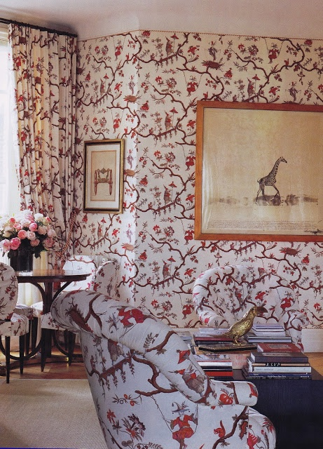 The Paris Apartment Of Caroline Lee Bouvier Canfield Radziwill Ross. The  Library Is Upholstered In