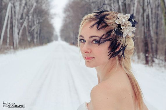 Black and newsprint featherbridal hair by 2CLVR4UDESIGNS on Etsy, $45.00