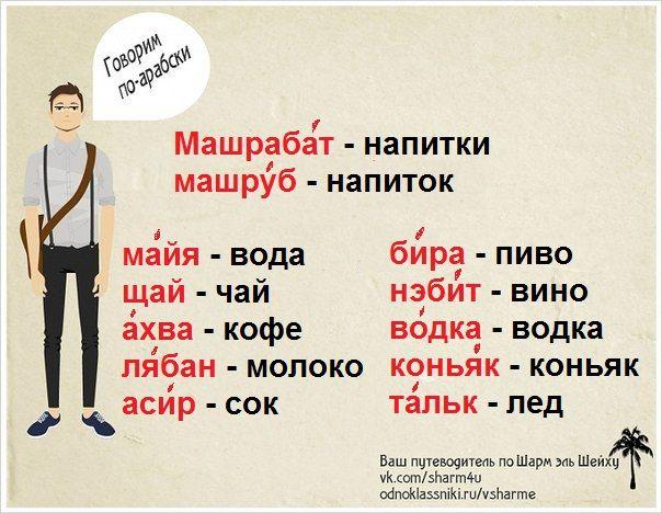 русско-арабский разговорник - напитки