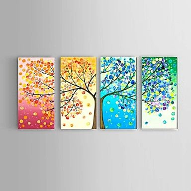 Handpainted+Oil+Painting+Four+seasons+lucky+Tree+Landscape+Stretched+Frame+Ready+To+Hang+–+USD+$+130.99