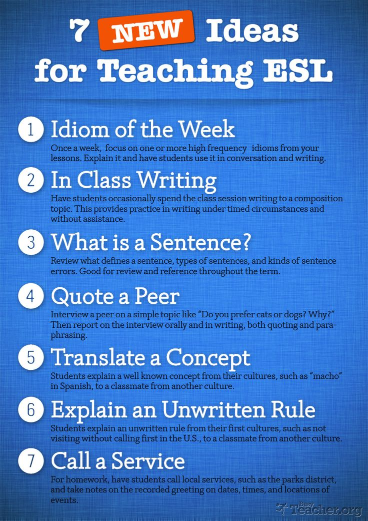 Ideas for teaching ESL students in the classroom starting with structure and listing out what they will be doing